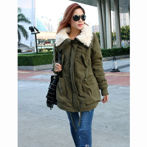 Buy Winter Women's Lady Fleece Parka Coat Zip Overcoat Long Jacket Warm Green