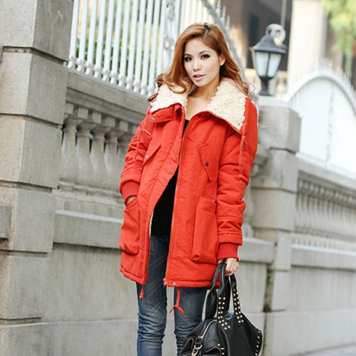 Buy Winter Women's Lady Fleece Parka Coat Zip Overcoat Long Jacket Warm Red