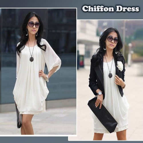 Women's Lady Mini Dress ChiffonDresses<br>Women's Lady Mini Dress Chiffon<br><br>Blade Length: 29.0cm