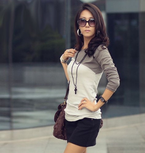 Women Lady Long Sleeve T-shirt Mixed Colors Splice Round Neck TeesTops &amp; Vests<br>Women Lady Long Sleeve T-shirt Mixed Colors Splice Round Neck Tees<br><br>Blade Length: 25.0cm