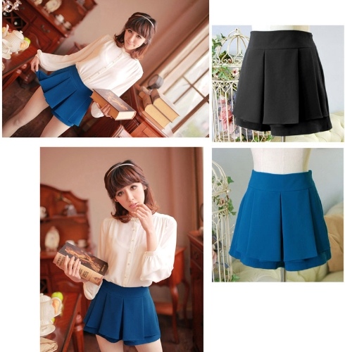 Image of Fashion Women Lady Pleated Divided Skirt Mini OL Tiered Summer Shorts Culottes Pantskirt Blue