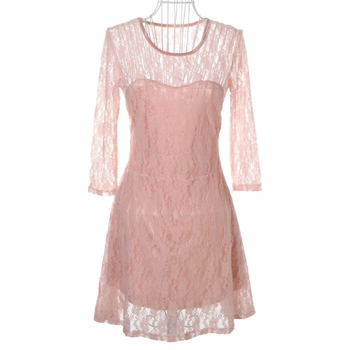 Fashion Women Lady Sexy Lace Skater Dress Half Sleeve Scoop Neck Light PinkDresses<br>Fashion Women Lady Sexy Lace Skater Dress Half Sleeve Scoop Neck Light Pink<br><br>Blade Length: 25.0cm