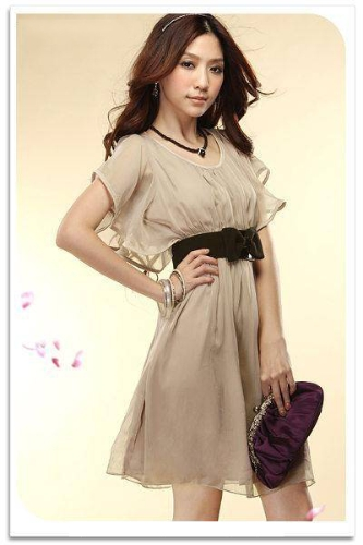 Fashion Women Lady Chiffon Dress Short Sleeve Crew Neck Casual Mini Dress Cocktail Summer Apricot G0172BE-M