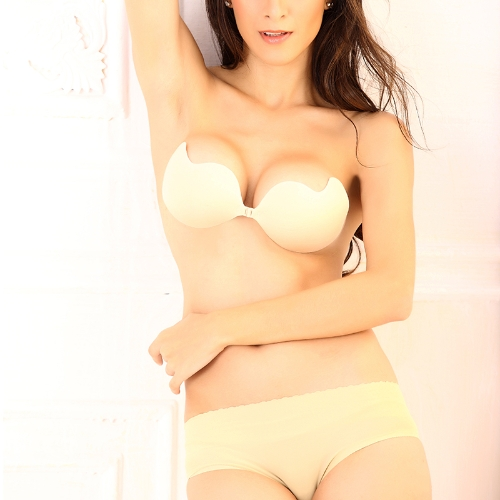 Sexy Magic Strapless Mango-shape Bra Push-up Lift Front-closure Silicone Bust Self-adhesive Backless Invisible Beige G0204BE-S