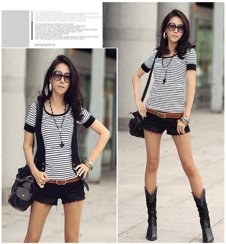Buy Fashion Summer Women T-Shirt Stripes Round Neck Short Sleeve Tops Slim Fit T Shirt