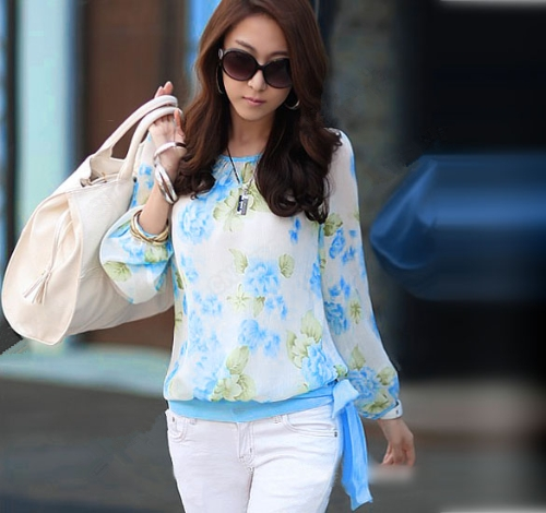 New Fashion Women Chiffon Shirt Floral Print Long Sleeve Blouse Top Casual BlueTops &amp; Vests<br>New Fashion Women Chiffon Shirt Floral Print Long Sleeve Blouse Top Casual Blue<br><br>Blade Length: 0.0cm
