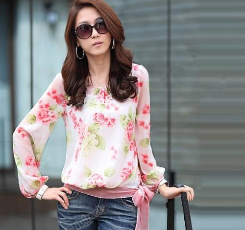 New Fashion Women Chiffon Shirt Floral Print Long Sleeve Blouse Top Casual Red