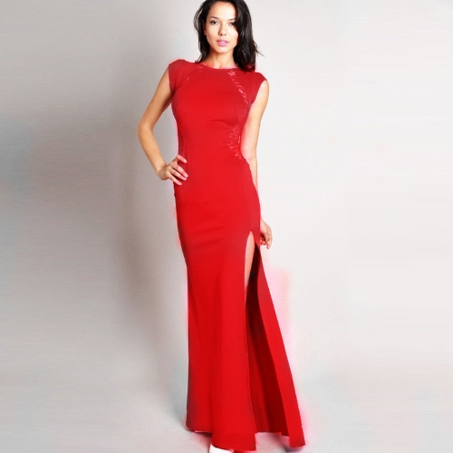 Buy Women Sexy Maxi Dress Lace See-through Back Slim Bodycon Fishtail Split Long Party Red