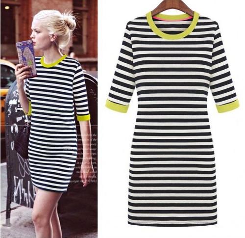 New Style Women Stripe Mini Dress Half Sleeve Round Contrast Neck One-piece Pencil Dress Yellow G0249Y-XXL
