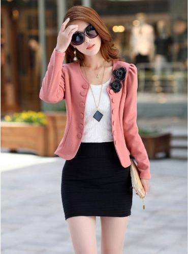 Fashion OL Lady Women Blazer Double Breasted Puff Sleeve Jacket Bow Tie Back Coat PinkBlazers &amp; Coats<br>Fashion OL Lady Women Blazer Double Breasted Puff Sleeve Jacket Bow Tie Back Coat Pink<br><br>Blade Length: 33.0cm