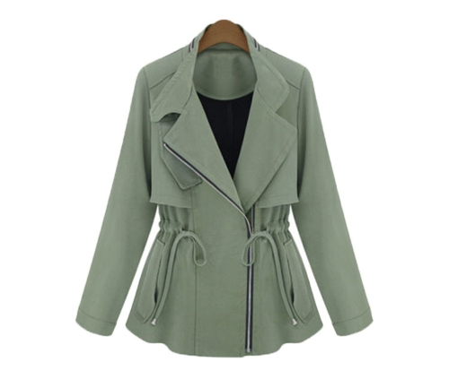 Women Fashion Jacket Fake Two-piece Long Sleeve Slim Waist Pocket Coat Army Green
