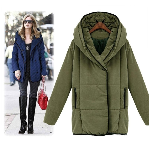 Fashion Women Trench Coat Winter Hooded Parka Loose Overcoat Long Jackets Army Green