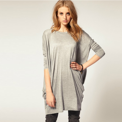 Chic Women Over Size T-Shirt Batwing Long Sleeve Knit Loose Tops Shirt Black/GreyTops &amp; Vests<br>Chic Women Over Size T-Shirt Batwing Long Sleeve Knit Loose Tops Shirt Black/Grey<br><br>Blade Length: 33.0cm