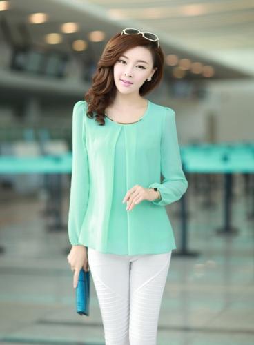New Fashion Women Chiffon Blouse Long Sleeve Round Neck Pleated Shirt Loose Tops Light Green