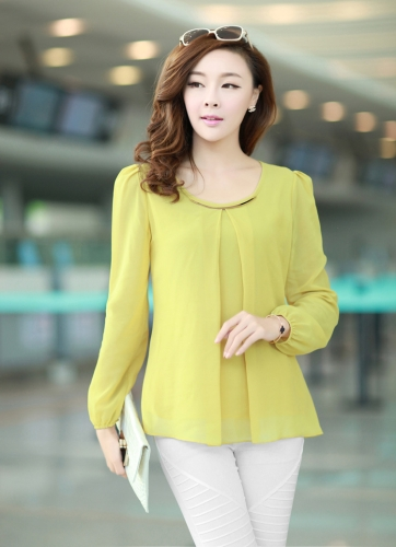 New Fashion Women Chiffon Blouse Long Sleeve Crew Neck Pleated Shirt Loose Tops Yellow G0397Y-XXL