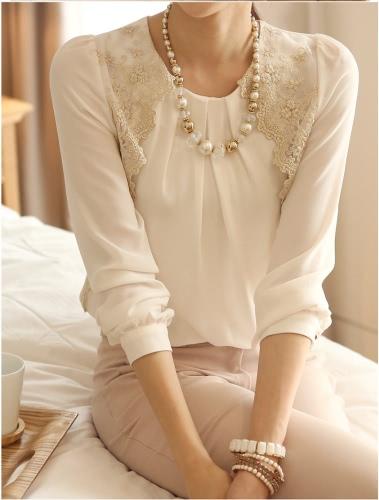 New Women Vintage Chiffon Blouse Long Sleeve Lace Tops Basic Shirt WhiteTops &amp; Vests<br>New Women Vintage Chiffon Blouse Long Sleeve Lace Tops Basic Shirt White<br><br>Blade Length: 35.0cm