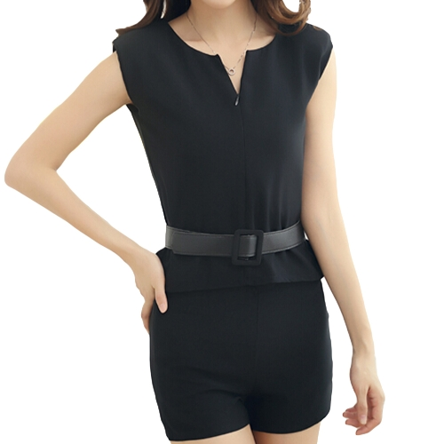 Fashion Women Two Pieces V Neck Zipper Front Sleeveless Top Shorts Pants Twin Set with Belt BlackTops &amp; Vests<br>Fashion Women Two Pieces V Neck Zipper Front Sleeveless Top Shorts Pants Twin Set with Belt Black<br><br>Blade Length: 30.0cm
