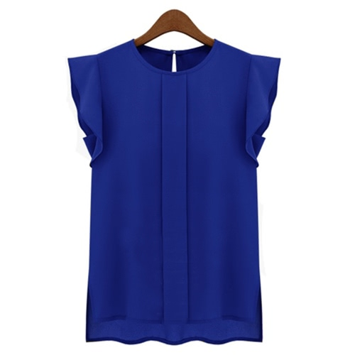 Fashion Women OL Style Chiffon Shirt Round Neck Short Butterfly Sleeve Casual Blouse Tops BlueTops &amp; Vests<br>Fashion Women OL Style Chiffon Shirt Round Neck Short Butterfly Sleeve Casual Blouse Tops Blue<br><br>Blade Length: 36.0cm