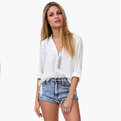 New Fashion Women Chiffon Blouse Sexy V-Neck Stand Collar Long Sleeve Shirt Tops White