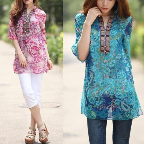 New Fashion Women Chiffon Blouse Embroidery Print Stand Collar Half Sleeve Long Shirt Dress Red G0571R-3XL