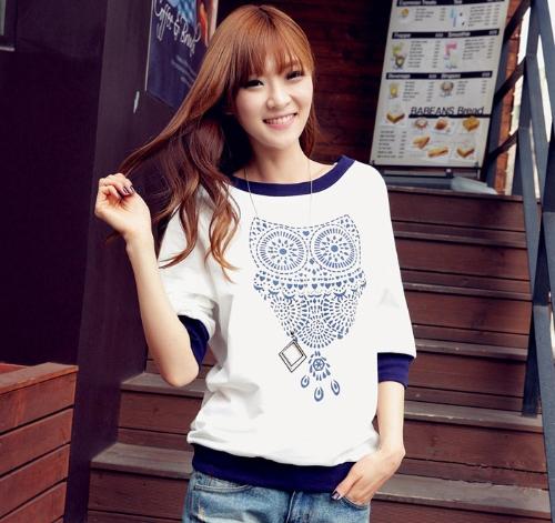 New Fashion Women T-shirt Owl Print Color Block Half Sleeves Tops White