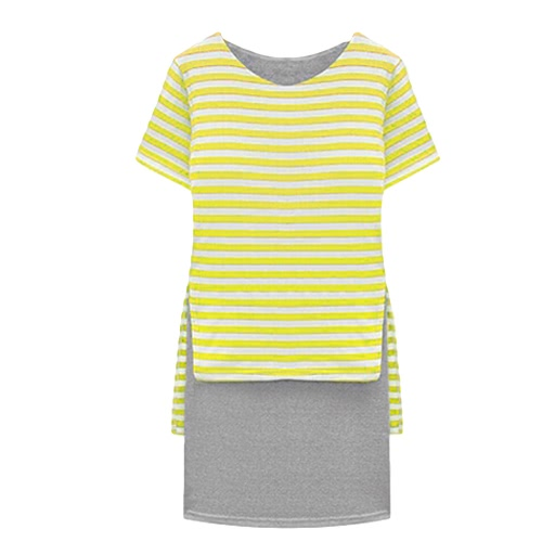 New Casual Women Dress Stripe Overlay O-Neck Short Sleeves Fashion One-piece YellowDresses<br>New Casual Women Dress Stripe Overlay O-Neck Short Sleeves Fashion One-piece Yellow<br><br>Blade Length: 33.0cm