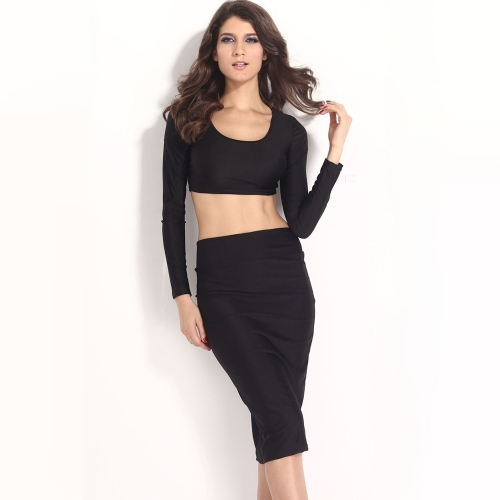 Buy Sexy Women Two Pieces Long Sleeve Bodycon Crop Top Pencil Skirt Dress Twin Set Party Clubwear Black