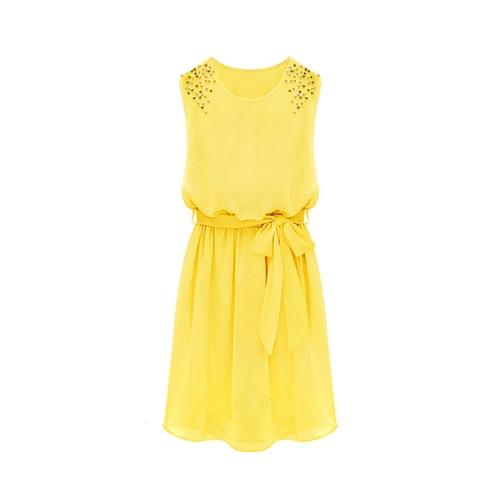 Fashion Women Chiffon Dress Handmade Bead Shoulder Sleeveless Pleated Vest Dress YellowDresses<br>Fashion Women Chiffon Dress Handmade Bead Shoulder Sleeveless Pleated Vest Dress Yellow<br><br>Product weight: 245.0g