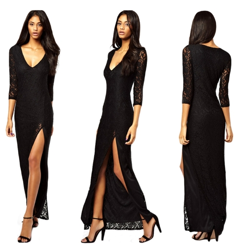Women Sexy Lace Maxi Dress Deep V-Neck Split Three Quarter Sleeve Cocktail Party Dress Black G0603B-M