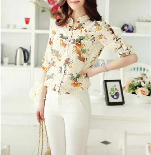 New Vintage Women Chiffon Shirt Print Stand Collar Long Sleeve Blouse with Camisole Yellow G0615Y-M