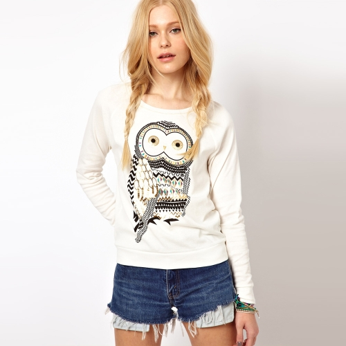 New Europe Women T-shirt Owl Print Crew Neck Long Sleeve Casual Pullover Tops White