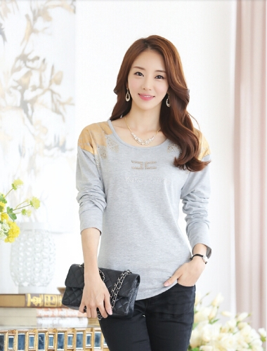 Fashion Women T-Shirt Print Shoulder Hot Drilling Round Neck Long Sleeves Casual Tops GrayTops &amp; Vests<br>Fashion Women T-Shirt Print Shoulder Hot Drilling Round Neck Long Sleeves Casual Tops Gray<br><br>Blade Length: 35.0cm