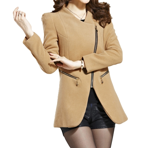 Buy Fashion Women Coat Zipper Pockets Faux Fur Collar Warm Slim Long Overcoat Outerwear Khaki