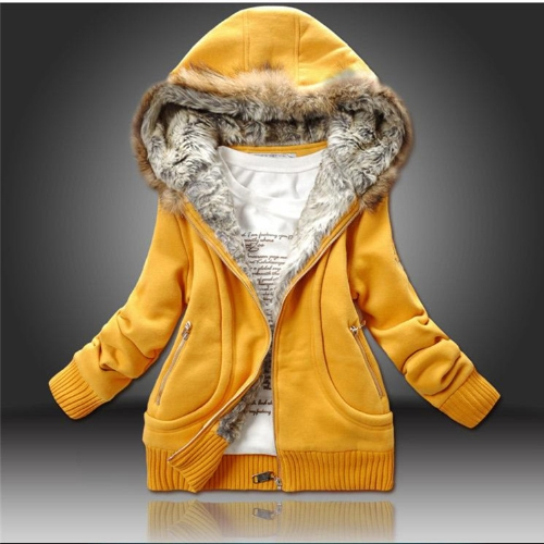 New Fashion Women Thick Hoodies Parka Faux Fur Zipper Pockets Warm Jacket Outerwear Yellow