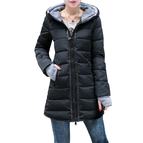 Buy Autumn Winter Women Padded Parka Hooded Coat Zipper Pockets Long Slim Jacket Warm Outerwear Black