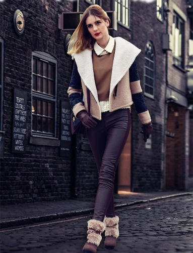 Fashion Women Coat Turn-down Collar Big Lapel Outerwear Short Belted Jacket Thick Warm Overcoat Beige LapelBlazers &amp; Coats<br>Fashion Women Coat Turn-down Collar Big Lapel Outerwear Short Belted Jacket Thick Warm Overcoat Beige Lapel<br><br>Blade Length: 47.0cm