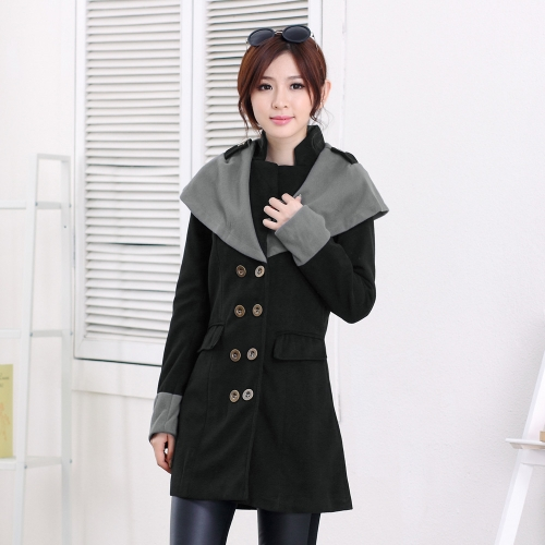 Autumn Winter Fashion Women Coat Contrast Big Lapel Double Breasted Epaulette Outerwear Black