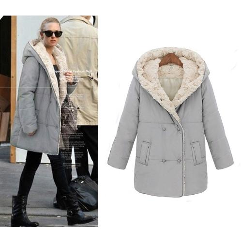 Buy Fashion Women Thick Coat Faux Fur Hooded Parka Overcoat Medium Long Jacket Grey