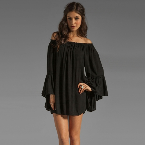 Buy Europe Fashion Women Boho Chiffon Dress Shoulder Flare Sleeve Sexy Mini Black