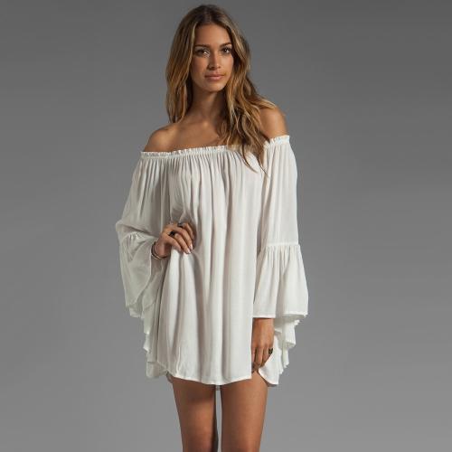 Buy Europe Fashion Women Boho Chiffon Dress Shoulder Flare Sleeve Sexy Mini White