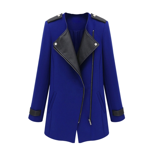 New Fashion Women Coat PU Leather Patchwork Zipper Front Warm Jacket Trench Outwear Royal Blue