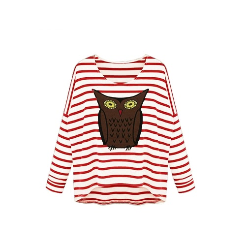New Fashion Women T-Shirt Owl Pattern Stripe Crew Neck Batwing Long Sleeve Casual Top Blouse G0738R-S