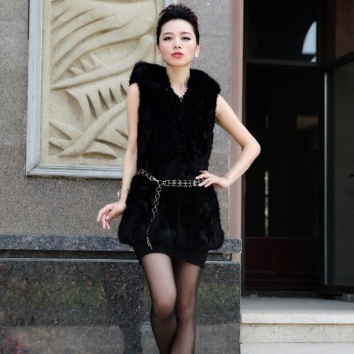 New Fashion Women Vest Faux Fur Hooded Collar Sleeveless Sweet Coat Outerwear