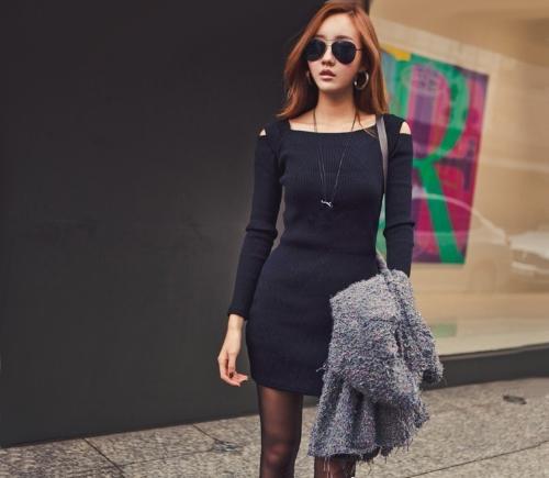 Buy Korean Fashion Women Dress Open Shoulder Square Neck Long Sleeve Sexy Slim Party Mini