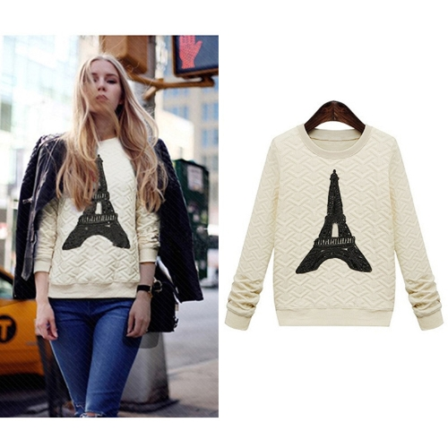 Fashion Women Sweatshirt Pylon Decoration Pullover Long Sleeve Casual Tops Blouse G0754BE-M