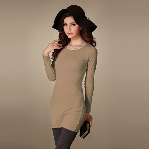 New Fashion Women Dress Crew Neck Long Sleeve Solid Color Casual Slim Mini DressDresses<br>New Fashion Women Dress Crew Neck Long Sleeve Solid Color Casual Slim Mini Dress<br><br>Blade Length: 27.0cm