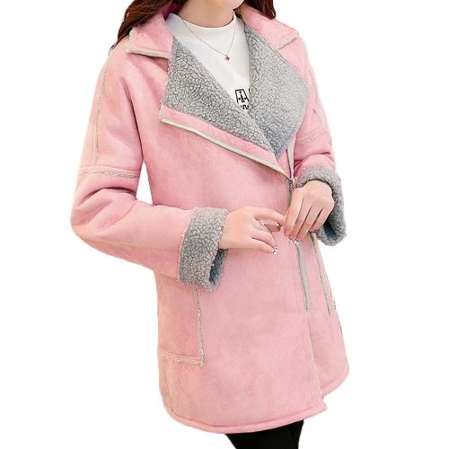 Buy Korean Fashion Women Suede Coat Faux Fur Fleece Lapel Zip Front Long Sleeve Warm Jacket Outerwear