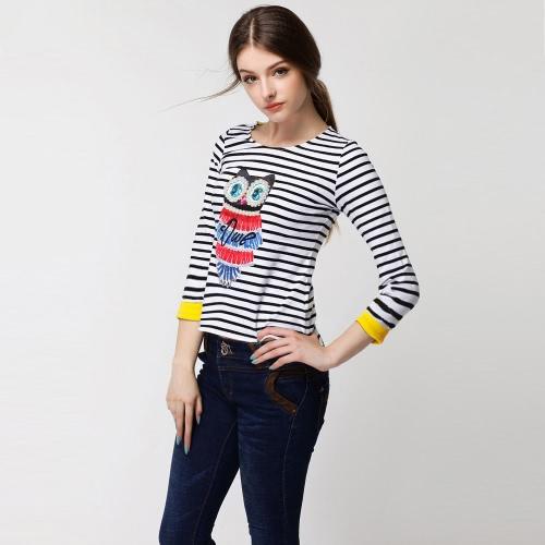 Fashion Women T-Shirt Owl Pattern Beading Stripe Asymmetric Hem Round Neck 3/4 Sleeve TopsTops &amp; Vests<br>Fashion Women T-Shirt Owl Pattern Beading Stripe Asymmetric Hem Round Neck 3/4 Sleeve Tops<br><br>Blade Length: 30.0cm