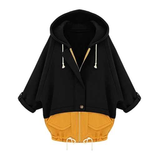 New Women Thin Coat Hooded Patchwork Batwing Sleeves Drawstring Hem Pockets Loose OuterwearBlazers &amp; Coats<br>New Women Thin Coat Hooded Patchwork Batwing Sleeves Drawstring Hem Pockets Loose Outerwear<br><br>Blade Length: 30.0cm