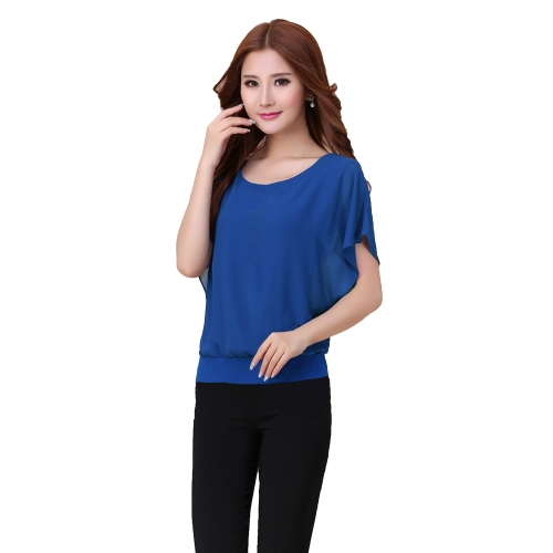 New Fashion Women T-Shirt Chiffon Overlay Crew Neck Short Batwing Sleeve Causal Tee Tops Blouse